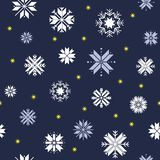 Seamless Christmas pattern. Blue pattern with white snowflakes and gold stars stock illustration