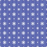 Seamless Christmas pattern with blue snowflakes dots and stripes Stock Image