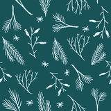Seamless Christmas pattern.  Botanical winter wallpaper. Wrapping paper texture. Stock Photography