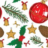Seamless Christmas Pattern. With Brown Pine Cone, Fir Branch, Bows, Toys and Big Red Glass Bauble on a White Background Stock Photography