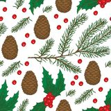 Seamless Christmas Pattern. With Brown Pine Cone, Fir Branch and Mistletoe on a White Background Royalty Free Stock Photo