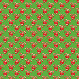 Seamless Christmas Pattern with Candy Cane Stick and Red Bow Royalty Free Stock Images