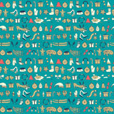 Seamless  Christmas pattern with cartoon  dog other things, Stock Photos