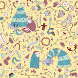 Seamless  Christmas pattern with cartoon granny and  dog, Royalty Free Stock Photos