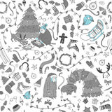 Seamless  Christmas pattern with cartoon granny and  dog, Royalty Free Stock Photo