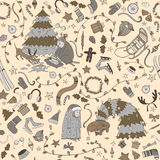 Seamless  Christmas pattern with cartoon granny and  dog, Royalty Free Stock Photography