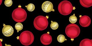 Seamless Christmas pattern with Christmas balls on a black background. Vector illustration Royalty Free Stock Images