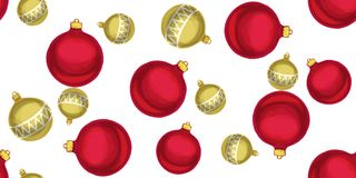 Seamless Christmas pattern with Christmas balls. Vector illustration.  Royalty Free Stock Image