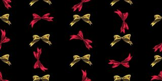 Seamless Christmas pattern with Christmas bows on a black background. Vector illustration Stock Photo