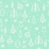Seamless Christmas pattern. Christmas tree, decorations, bells Stock Photo