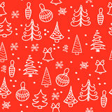 Seamless Christmas pattern. Christmas tree, decorations, bells Royalty Free Stock Image
