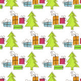 Seamless, Christmas pattern with Christmas trees and gifts Royalty Free Stock Image