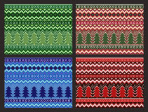 Seamless Christmas Pattern Collection. Vector pixel pines and snowflakes set. Royalty Free Stock Photos