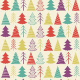 Seamless Christmas  pattern with colorful fir-trees Royalty Free Stock Photography
