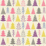 Seamless Christmas  pattern with colorful fir-trees Stock Image
