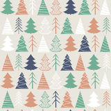 Seamless Christmas  pattern with colorful fir-trees. On a grey background in a vintage style Stock Photo