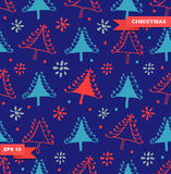 Seamless Christmas pattern. Colorful texture with decorative spruces. Royalty Free Stock Photos