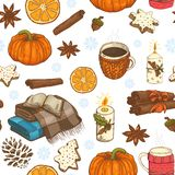 Seamless christmas pattern with cups, citrus, snowflakes and plaids. Seamless christmas pattern with cups, citrus, snowflakes and blankets and pumpkins royalty free illustration