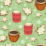 Seamless christmas pattern with cups, cookies and snowflakes vector illustration