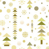 Seamless christmas pattern with cute New Year trees and falling snow Stock Image