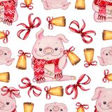 Seamless Christmas pattern with cute pig stock photos