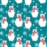 Seamless Christmas pattern. Cute polar bears, snowflakes on blue background. royalty free illustration