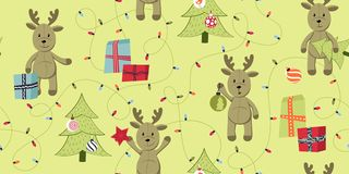 Seamless Christmas pattern with deer. royalty free illustration