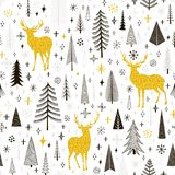 Seamless Christmas pattern with deers, snowflakes and spruce. Vector Stock Images
