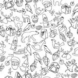 Seamless Christmas pattern with different black and white objects and animals. Endless festive texture for design, announcements, Stock Photography