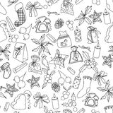 Seamless Christmas pattern with different black and white objects. Endless festive texture for design, announcements, postcards, p. Osters Stock Photography