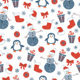 Seamless Christmas pattern with doodle decorative elements Royalty Free Stock Photo