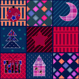 Seamless christmas pattern elements patchwork background Stock Photos
