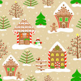 Seamless christmas pattern, endless background of christmas town. Royalty Free Stock Photos