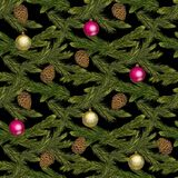 Seamless Christmas pattern with fir branches and Christmas toys on a black background. Seamless Christmas pattern with fir branches and Christmas toys on a Stock Photo