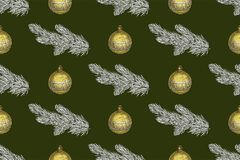 Seamless Christmas pattern with fir branches and Christmas toys on a green background.  Stock Image