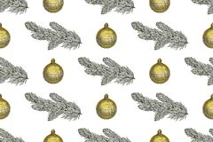 Seamless Christmas pattern with fir branches and Christmas toys on a white background. Seamless Christmas pattern with fir branches and Christmas toys on a Stock Photos