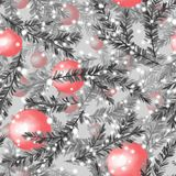 Seamless christmas pattern 9. Fir tree and balls. Watercolor seamless pattern with fir tree branches and christmas balls Royalty Free Stock Image