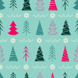 Seamless Christmas pattern with fir-trees, snowflakes, garlands vector illustration