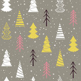 Seamless Christmas  pattern with fir-trees, snowflakes and snow. Seamless Christmas  pattern with fir-trees, trees, snowflakes, snow and stars on a grey Stock Photo