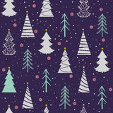 Seamless Christmas  pattern with fir-trees, snowflakes, snow, stars. Seamless Christmas  pattern with fir-trees, snowflakes, snow and stars on a violet Royalty Free Stock Photography