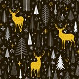 Seamless Christmas pattern with firs, snowflakes and deer. Vector Royalty Free Stock Photography