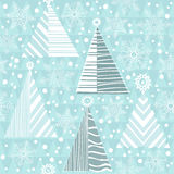 Seamless Christmas pattern with firtrees. Less Christmas abstract background with Christmas trees and snowflakes. Winter  illustration Stock Photography
