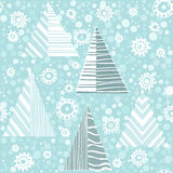 Seamless Christmas pattern with firtrees. New Year endless background with fir trees and snowflakes. Winter  illustration Stock Photos