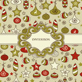 Seamless Christmas Pattern with Frame Royalty Free Stock Image