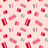 Seamless Christmas pattern with gift boxes Royalty Free Stock Photography