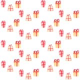Seamless Christmas pattern with gift boxes stock illustration