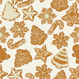 Seamless Christmas pattern with gingerbread Cookies in vintage style. Royalty Free Stock Image