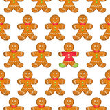 Seamless christmas pattern with gingerbread men. Holiday background Royalty Free Stock Images