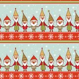 Seamless Christmas pattern with gnomes Stock Images
