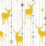 Seamless Christmas pattern of gold deers and snowflakes. Vector Royalty Free Stock Image
